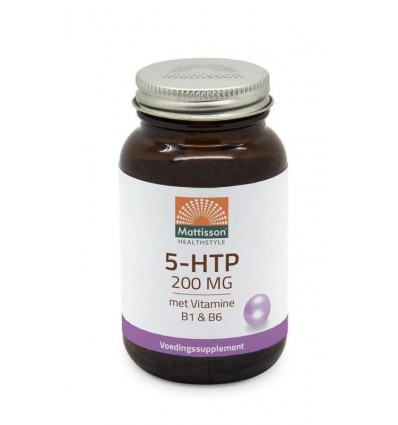 Mattisson 5-HTP 200 mg vitamine B1 & B6 60 capsules   € 20.59   Superfoodstore.nl