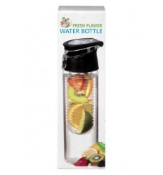 Fresh Flavor Water bottle zwart 700 ml | Superfoodstore.nl