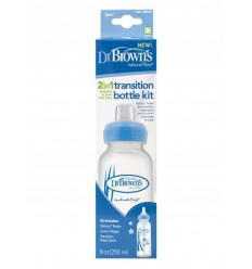 Dr Brown's Options+ overgangsfles smalle hals blauw 250 ml |