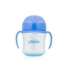 Dr Brown's Drinkbeker blauw 180 ml zachte tuit |