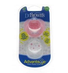 DR Brown's Fopspeen advantage 0-6 maand roze 2 stuks  
