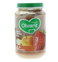 Olvarit Appel aardbei peer 6M54 200 gram | Superfoodstore.nl