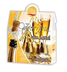 Voor Jou! Cadeau doos champagneflesjes van harte 100 gram |