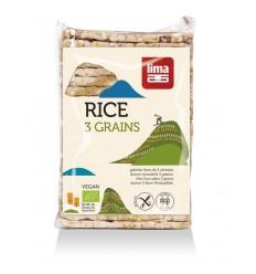 Lima Rijstwafels recht dun 3 granen 130 gram | Superfoodstore.nl