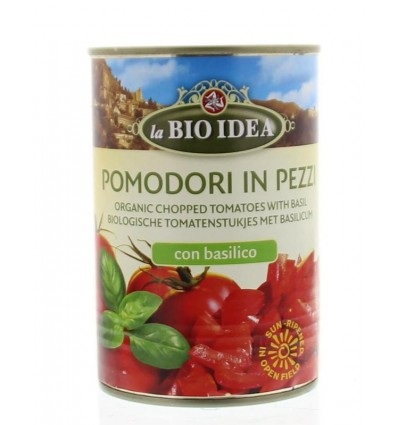 Bioidea Tomatenstukjes basilicum 400 gram | Superfoodstore.nl