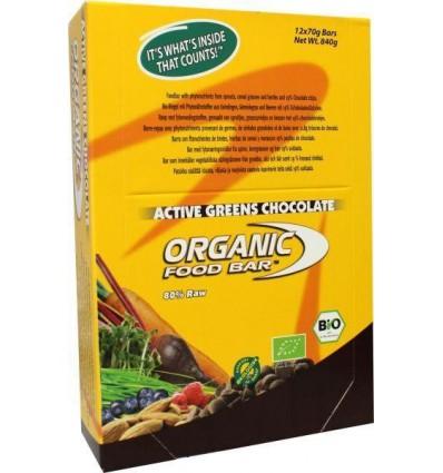 Organic Food Bar Bar active greens chocolade 68 gram 12 stuks |