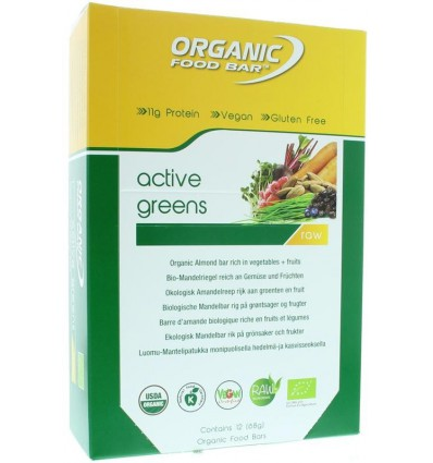 Organic Food Bar Bar active greens 68 gram 12 stuks |