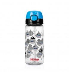 Nuby Beker zacht rietje drukknop blauw 530 ml 3 jr+  