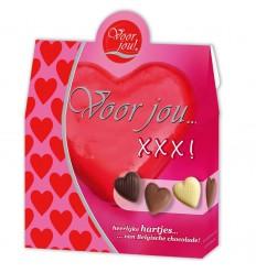 Voor Jou! Cadeau doos hartjes XXX 100 gram | € 3.55 | Superfoodstore.nl