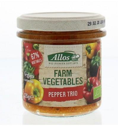 Broodbeleg Allos Farm vegetables pepper trio 135 gram kopen