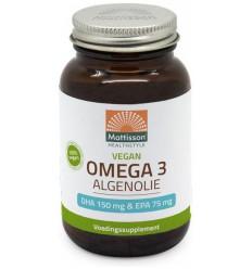 Mattisson Vegan omega 3 algenolie DHA 150 mg EPA 75 mg 60 vcaps