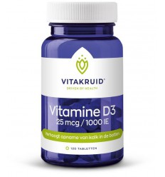 Vitakruid Vitamine D3 25 mcg 120 tabletten | Superfoodstore.nl