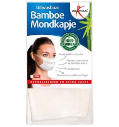 Lucovitaal Mondkapje bamboe wit   Superfoodstore.nl