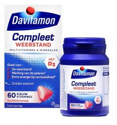 Davitamon Compleet weerstand kauwvitamines aardbei 60 kauwtabletten | € 11.74 | Superfoodstore.nl
