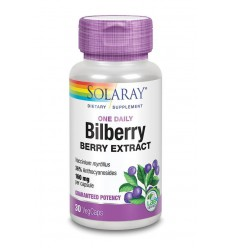 Solaray Bilberry blauwe bosbes 160 mg 30 vcaps |