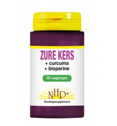 NHP Zure kers/curcuma/piper nigrum 30 vcaps | Superfoodstore.nl